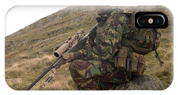 Sharpshooter iPhone Case - A British Soldier Armed With A Sniper by Andrew Chittock