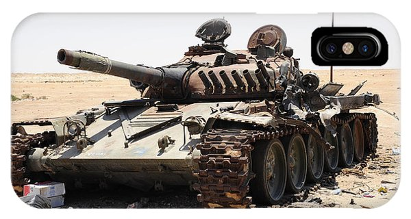 Operation Odyssey Dawn iPhone Case - A T-72 Tank Destroyed By Nato Forces by Andrew Chittock