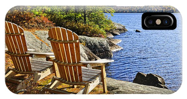 Chair iPhone Case - Adirondack Chairs At Lake Shore by Elena Elisseeva