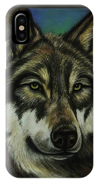 Native American Spirit Portrait iPhone Case - Blue Wolf by Lucy Deane