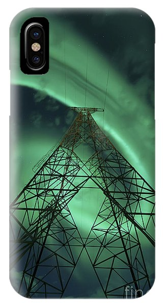 Electrical Component iPhone Case - Powerlines And Aurora Borealis by Arild Heitmann