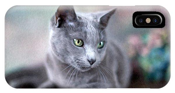 Cat iPhone Case - Russian Blue by Nailia Schwarz