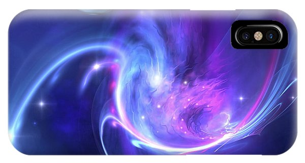 Light Speed iPhone Case - A Beautiful Nebula And A Ringed Planet by Corey Ford