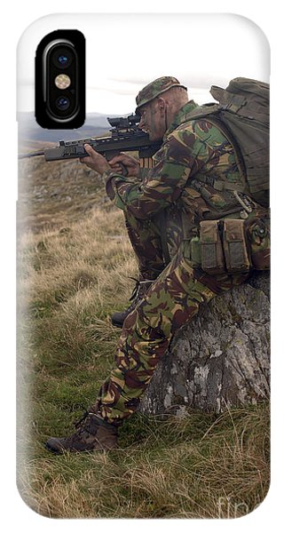 Sharpshooter iPhone Case - A British Soldier Armed With A Sa80 by Andrew Chittock