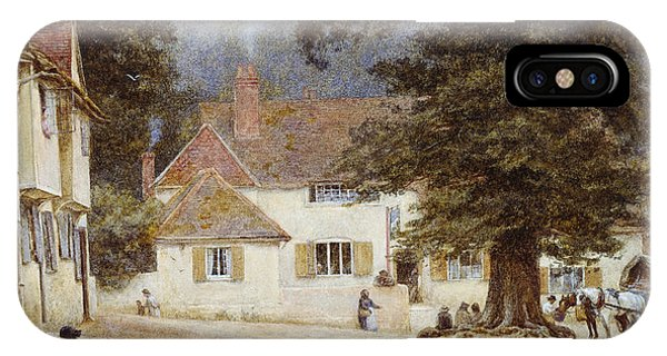 English Village iPhone Case - A Cart By A Village Inn by Helen Allingham
