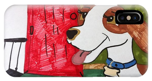 A Dog Is Heading Out The Door. IPhone Case