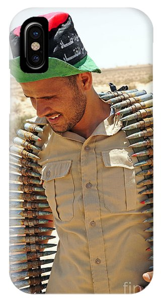 Operation Odyssey Dawn iPhone Case - A Free Libyan Army Soldier With An by Andrew Chittock