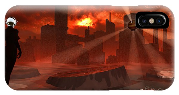 Beam iPhone Case - A Futuristic Look At A City Flooded by Mark Stevenson