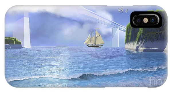 Schooner iPhone Case - A Ketch Sails Underneath A Very High by Corey Ford