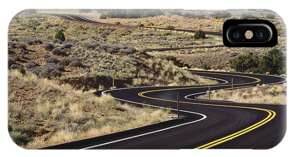Road iPhone Case - A Newly Paved Winding Road Up A Slight by Greg Probst