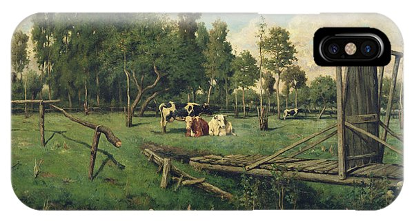Normandy iPhone Case - A Pasture In Normandy by Constant-Emile Troyon