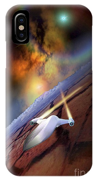 Light Speed iPhone Case - A Spacecraft Flys Over Another World by Corey Ford