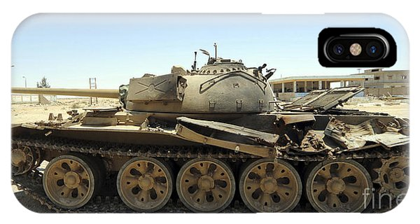 Operation Odyssey Dawn iPhone Case - A T-55 Tank Destroyed By Nato Forces by Andrew Chittock
