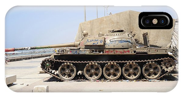 Operation Odyssey Dawn iPhone Case - A T-55 Tank On The Seafront by Andrew Chittock