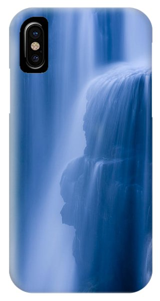 Water iPhone Case - A Waterfall Splashes Off Of A Large by Ralph Lee Hopkins