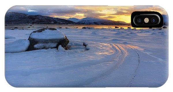 A Winter Sunset Over Tjeldsundet IPhone Case