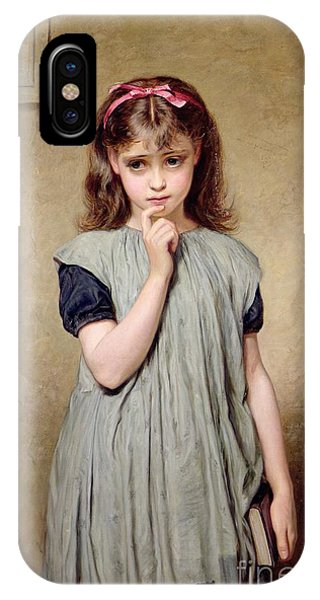 Girls In Pink iPhone Case - A Young Girl In The Classroom by Charles Sillem Lidderdale