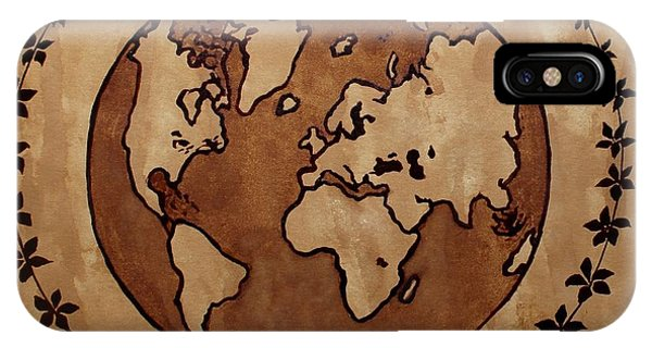 Abstract World Globe Map Coffee Painting IPhone Case