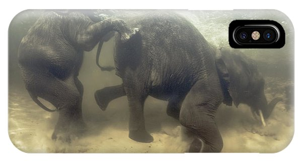 African Elephants Swimming Phone Case by Peter Scoones