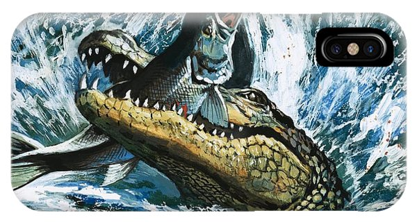 Alligator Eating Fish IPhone Case