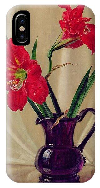Lillie iPhone Case - Amaryllis Lillies In A Dark Glass Jug by Albert Williams