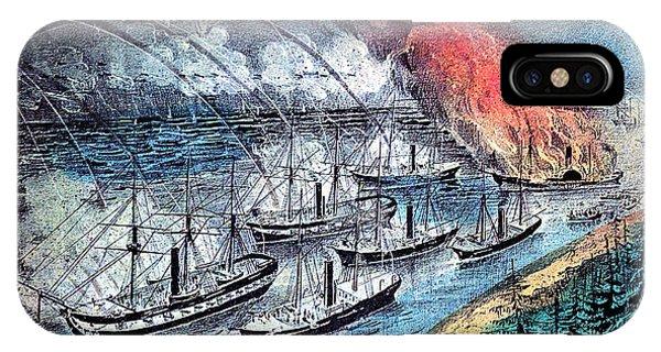 Battery D iPhone Case - American Civil War, Farraguts Fleet by Photo Researchers