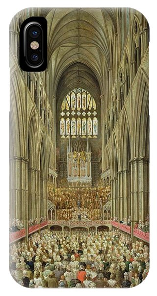 An Interior View Of Westminster Abbey On The Commemoration Of Handel's Centenary IPhone Case