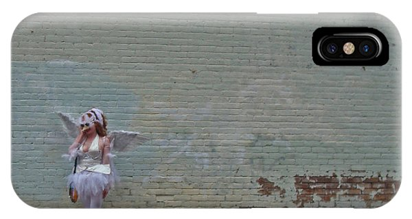 Angel With A Cell Phone On Mardi Gras Day In New Orleans IPhone Case