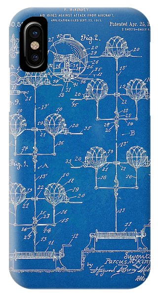 Explosion iPhone X Case - Anti-aircraft Air Mines Patent Artwork 1916 by Nikki Marie Smith