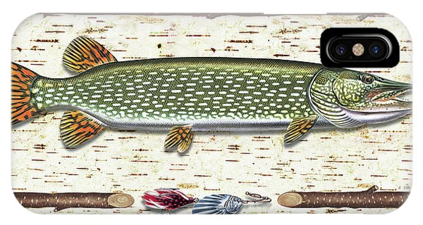 Birch Tree iPhone Case - Antique Birch Pike And Lure by JQ Licensing