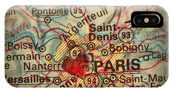 Antique Map With A Heart Over The City Of Paris In France Phone Case by ELITE IMAGE photography By Chad McDermott