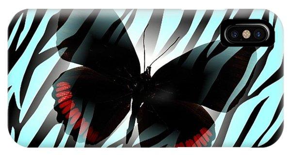 Aqua Zebra With Black Butterfly Phone Case by Florene Welebny