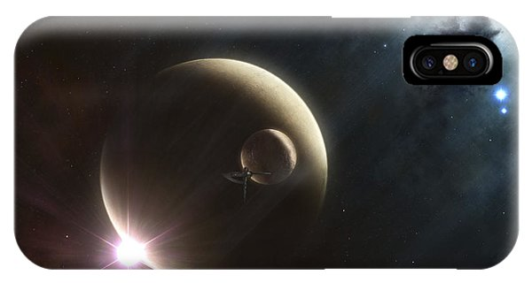 Beam iPhone Case - Artists Concept Of Two Dusty Moons by Kevin Lafin