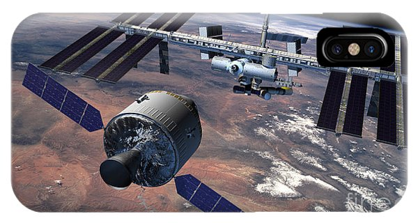 International Space Station iPhone Case - Artists Rendition Of A Rendezvous by Stocktrek Images