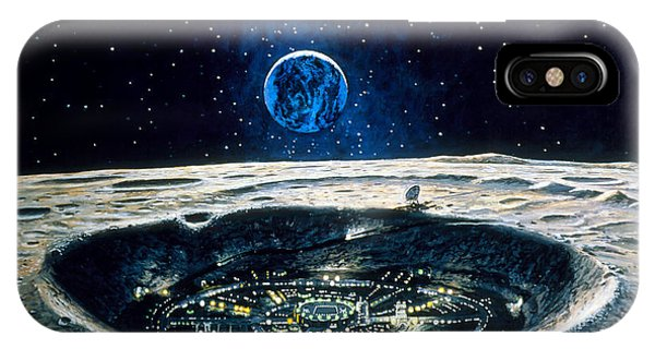 Artwork Of A City In A Crater On The Moon Phone Case by Chris Butler