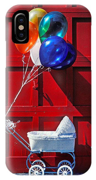 Baby Blue iPhone Case - Baby Buggy With Balloons  by Garry Gay