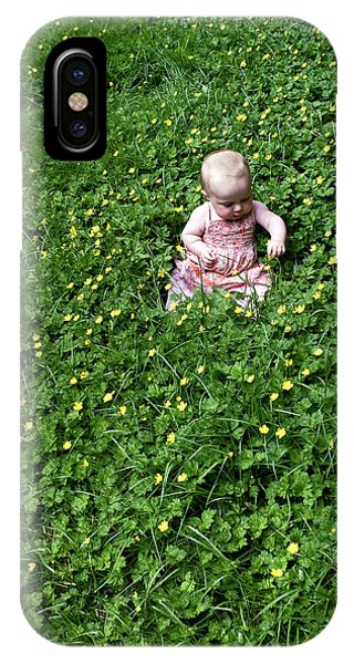 Baby In A Field Of Flowers IPhone Case