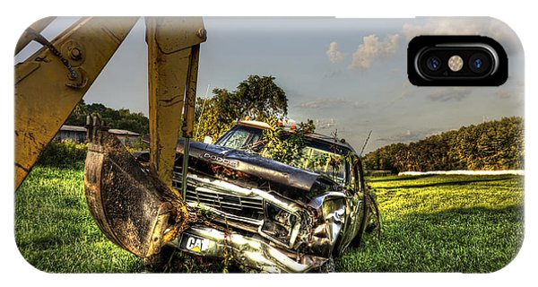 Backhoe Pulling Car Out Of Field Phone Case by Dan Friend