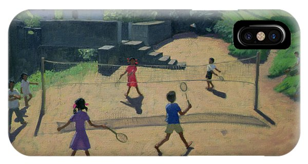 Indian Village iPhone Case - Badminton by Andrew Macara
