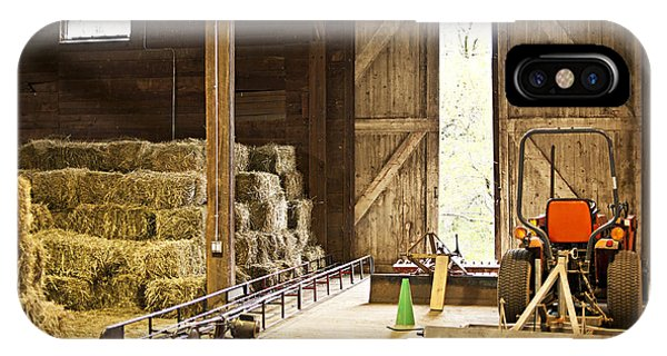 Farm Tool iPhone Case - Barn With Hay Bales And Farm Equipment by Elena Elisseeva