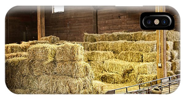 Barn With Hay Bales IPhone Case