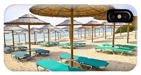Greece iPhone Case - Beach Umbrellas On Sandy Seashore by Elena Elisseeva
