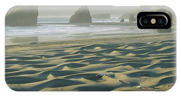 Oregon Sand Dunes iPhone Case - Beach With Dunes And Seastack Rocks by Skip Brown
