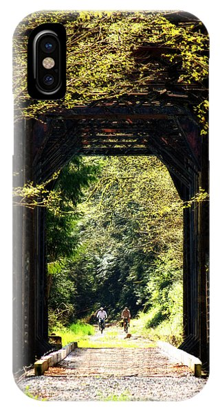 Bicycling Across Old Train Bridge IPhone Case