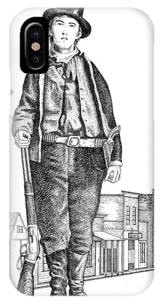 Pen And Ink Drawings For Sale iPhone Case - Billy-the-kid by Gordon Punt