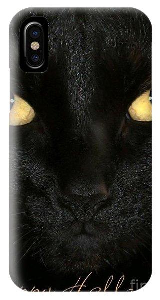 Black Cat Halloween Card IPhone Case