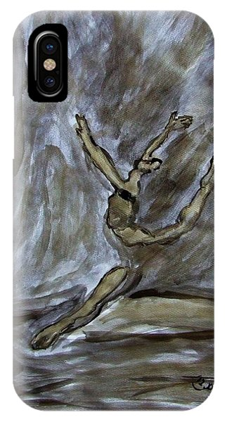 Black Gold Young Female Ballet Dancer In Strong Powerful Striking Jump Off The Ballroom Floor Arms IPhone Case