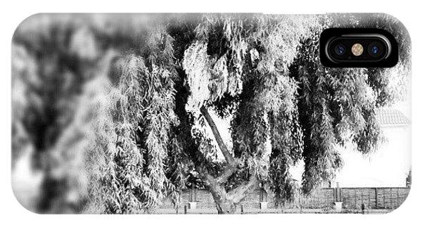 #blackandwhite #bnw #bw #trees #chair IPhone Case