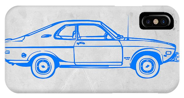 American Cars iPhone Case - Blue Car by Naxart Studio