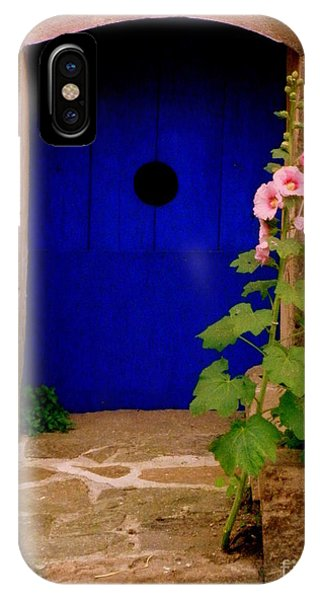 Blue Door And Pink Hollyhocks IPhone Case